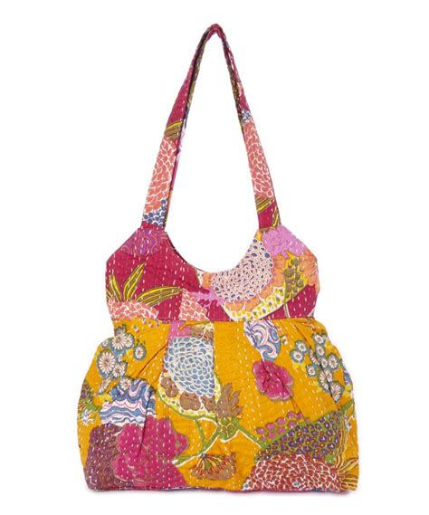 Mango Original Pink mango and pink floral kantha hobo carry me