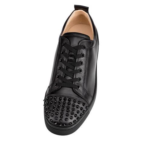louis junior spikes flat black black calf shoes