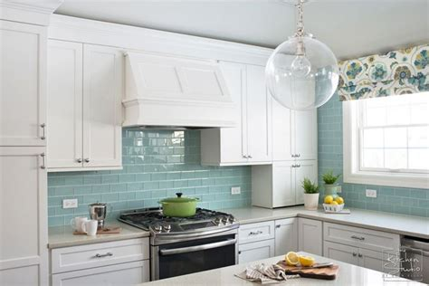 turquoise backsplash turquoise subway tile backsplash two interiors