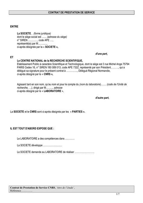 Modele Contrat Prestation Service model 233 de contrat prestation de service scientifique doc