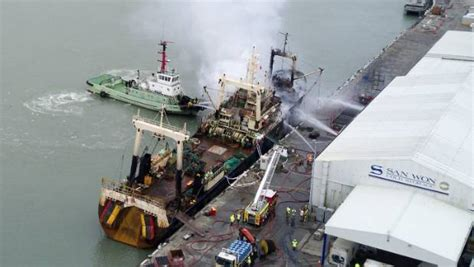 fishing boat fire nz fire on fishing boat sees timaru port operations suspended