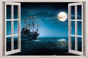 Pirate Ship Wall Mural pirate ship 3d window view decal wall sticker home decor art mural