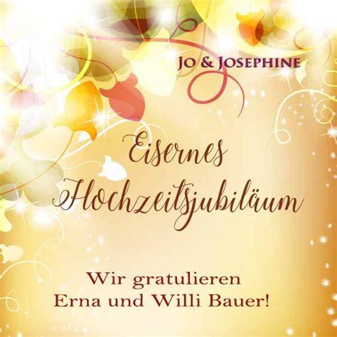 Eiserne Hochzeit by Ihre Gl 252 Ckw 252 Nsche Zur Eisernen Hochzeit Personalisierte