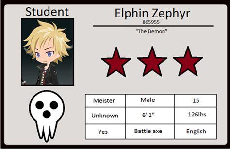 My Oc Card Template by My Soul Eater Oc Id By Elphin Zephyr On Deviantart