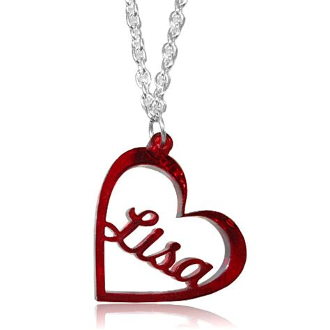 High Quality Arcrylic Dangle Red Heart Love Cut Out Personalized Name Lisa Custom Made Any Name