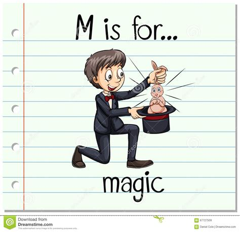 m is for magic flashcard letter m is for magic stock vector image 67727509