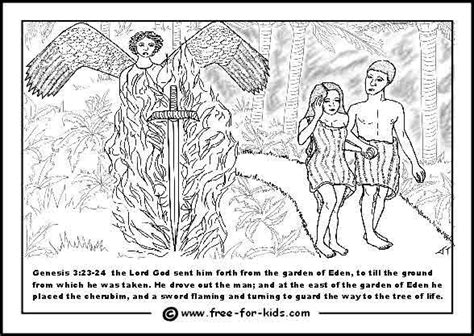 garden of eden coloring pages free printable adam and eve expelled from the garden of eden bijbel