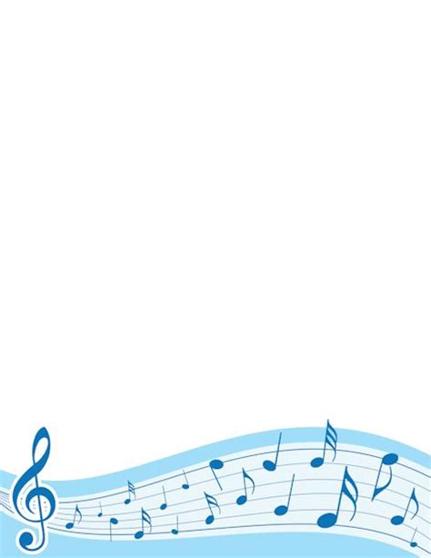 lined paper with music border music border with treble clef and notes in blue free