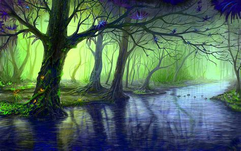 anime island stream enchanted forest blue stream wallpapers enchanted