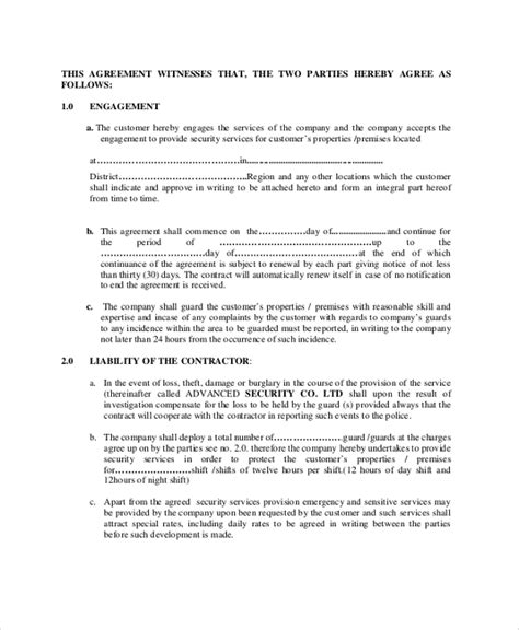 security company contract template sle contract agreement 52 free documents in