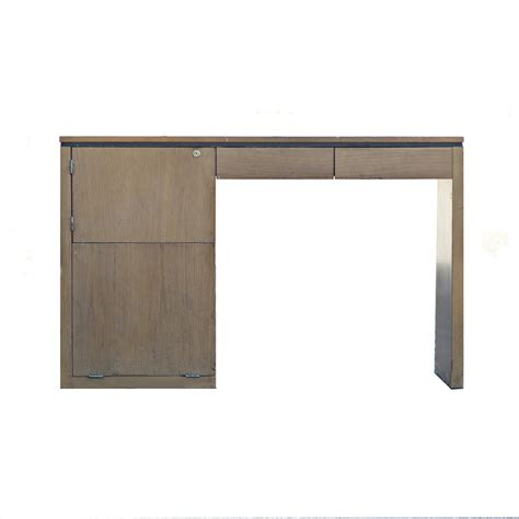 Panel Desk mid century modern single pedestal wood table panel desk
