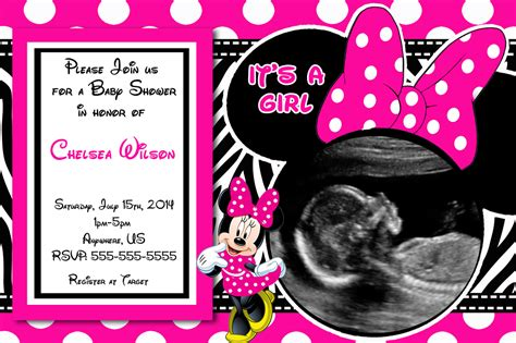 themes in girl online baby shower invitations minnie mouse baby shower