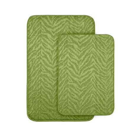 green bath rugs garland rug zebra lime green 20 in x 30 in washable bathroom 2 rug set zb 2pc lgn the