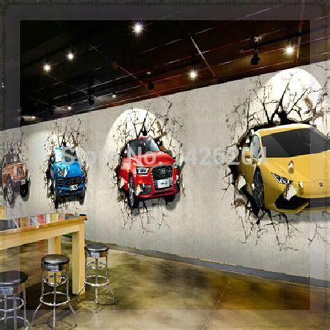 car wall mural great wall custom 3d car broken wall mural wallpaper office personality restaurant and bar tv