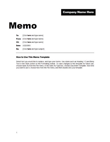 Template Memo To File View Memo Format
