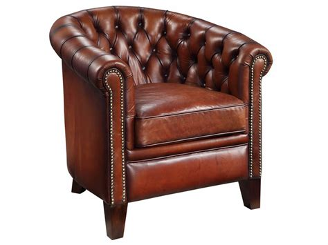 Chesterfield tub chair in hand dyed leather