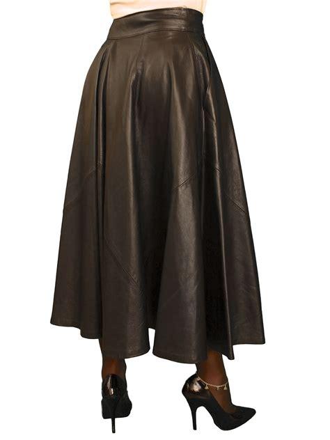 black leather midi skirt black lining tout