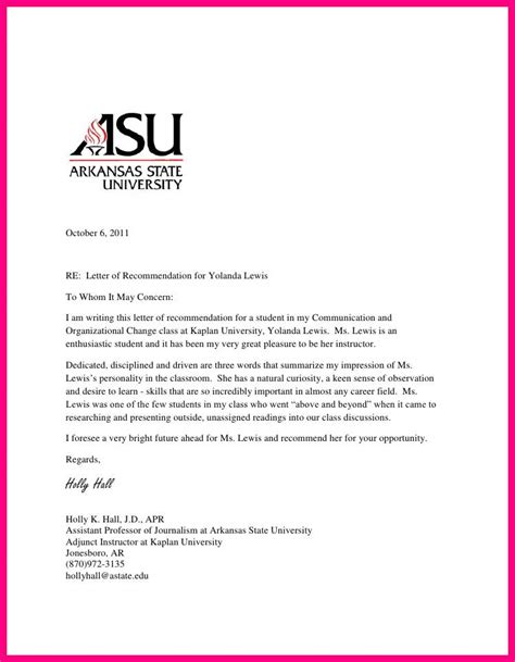 Recommendation Letter For Hrm Student 10 Reference Letter For Student From Professor