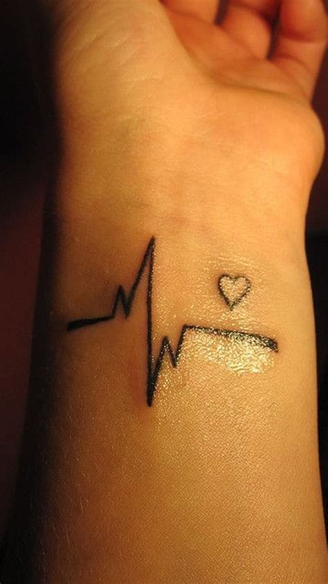 ink heart tattoo awesome black ink cardiogram on wrist