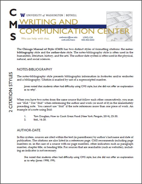 chicago style formatting writing communication center