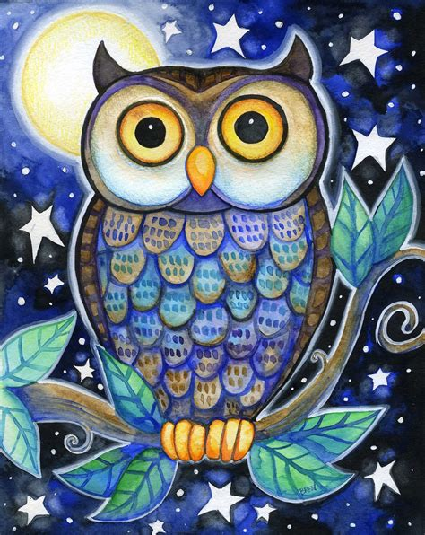 owl colors owl 8x10 colorful owl moon print i like