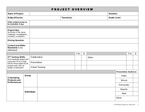 buck project planning forms