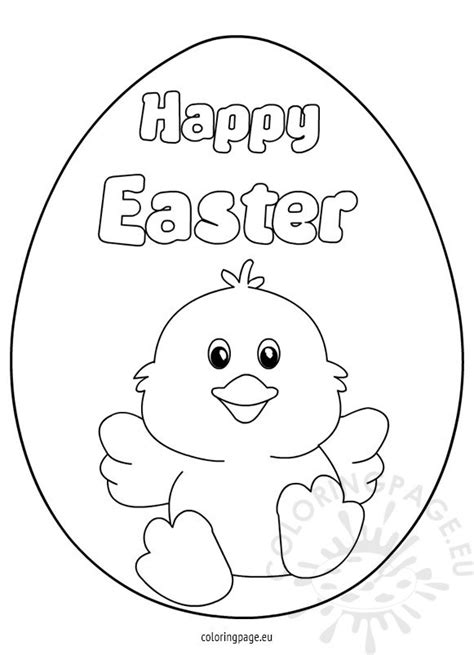 happy easter chick colouring page