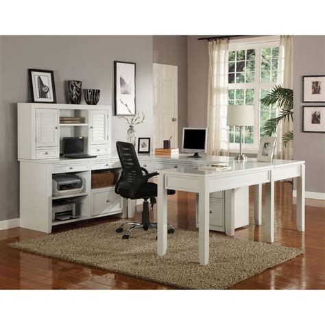 Parker House Boca U Shaped Desk With Credenza And Hutch White Cottage Desk