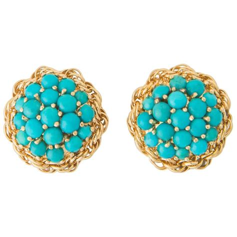 cartier turquoise gold earrings at 1stdibs