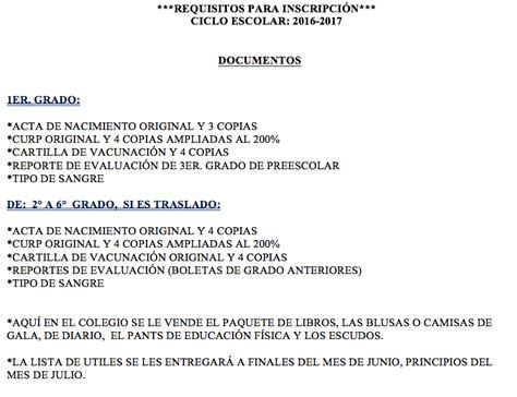 requisitos inscripcion de concubina 2016 requisitos inscripci 243 n primaria