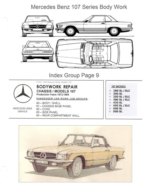 car service manuals pdf 1989 mercedes benz sl class head up mercedes benz 107 bodywork and frame manual on cd 380