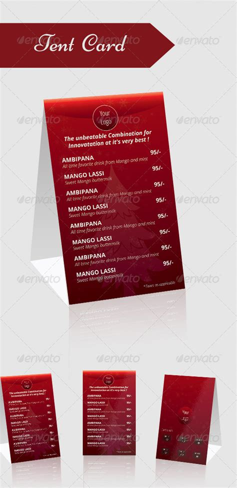 tent card menu graphicriver
