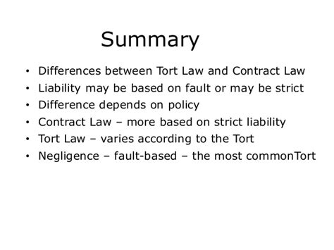 Difference Between Contract And Outline Agreement by Pob Topic 12 Introduction To Tort Seminar 31 Seminar Slides Ole