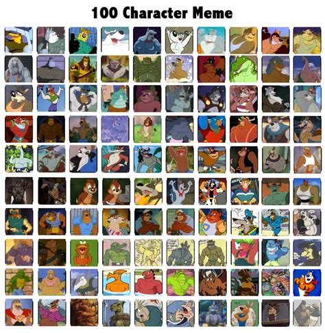 Meme Characters List - 100 character meme very rough by toontorment on deviantart