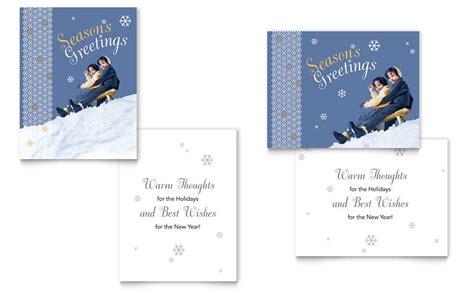 Microsoft Word Templates Place Holder Cards Winter by Children Sledding Greeting Card Template Word Publisher