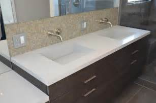 Custom Vanity Counter Quartz Integrated Sinks Modern Vanity Tops And Side