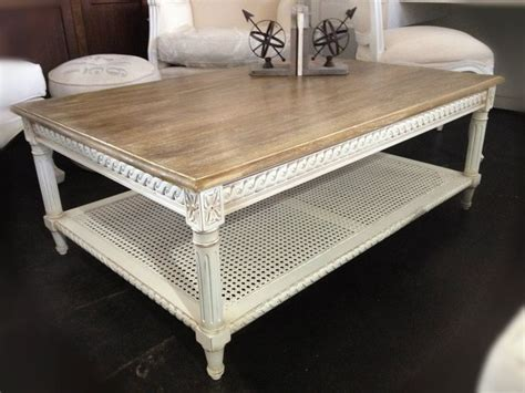 htons rattan coffee table distressed white with