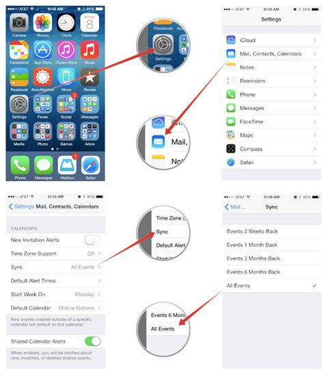 set calendar as default on iphone how to set default calendars alert times sync options