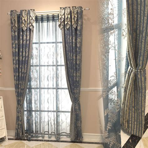 country bedroom curtains navy blue floral jacquard linen cotton blend country