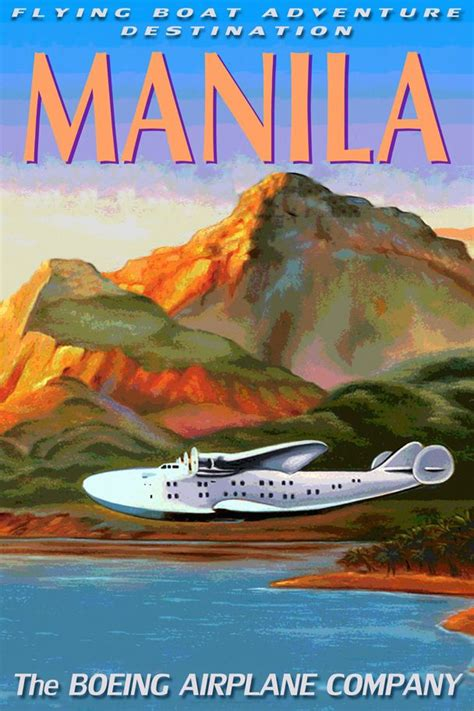 flying boat poster manila boeing 314 clipper flying boat sea plane travel