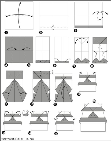Origami Castle Easy - origami is a japanese castle scheme and