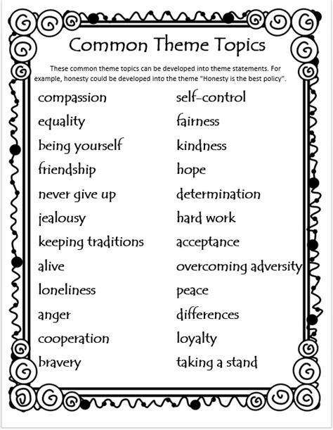 theme exles middle school themes in literature for 4th and 5th grade theme