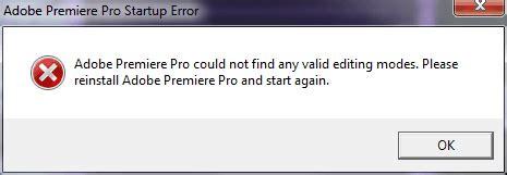 adobe premiere pro startup error работа над ошибками в adobe premiere pro cs6