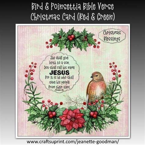 bird  poinsettia bible verse christmas card kit red  green cup craftsuprint