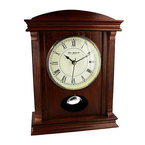 wooden mantel clock with pendulum h samuel