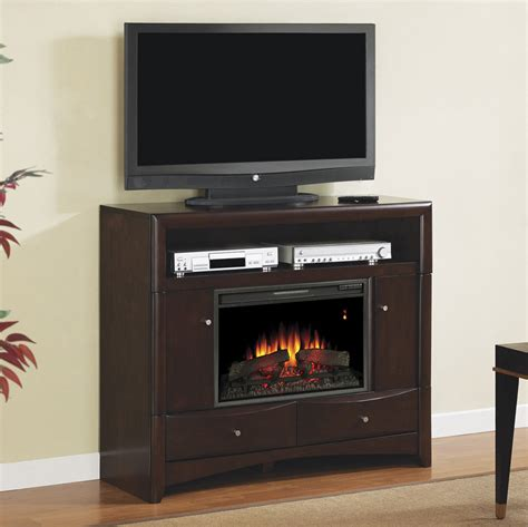 electric fireplace media console delray electric fireplace media console in roasted walnut