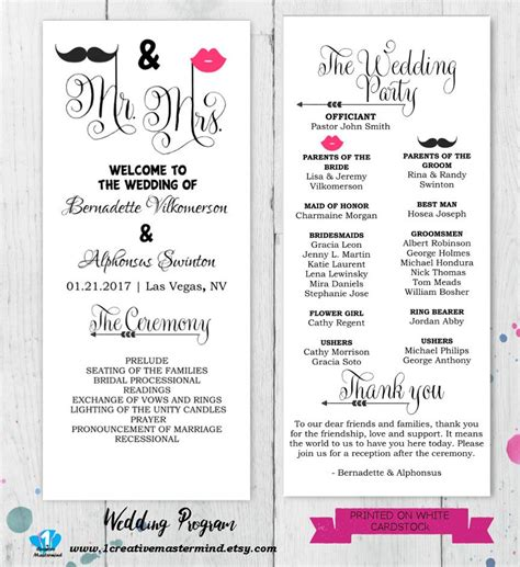 Diy Fun Wedding Program Template Printable Editable Template Celebrate It Templates For Wedding Programs
