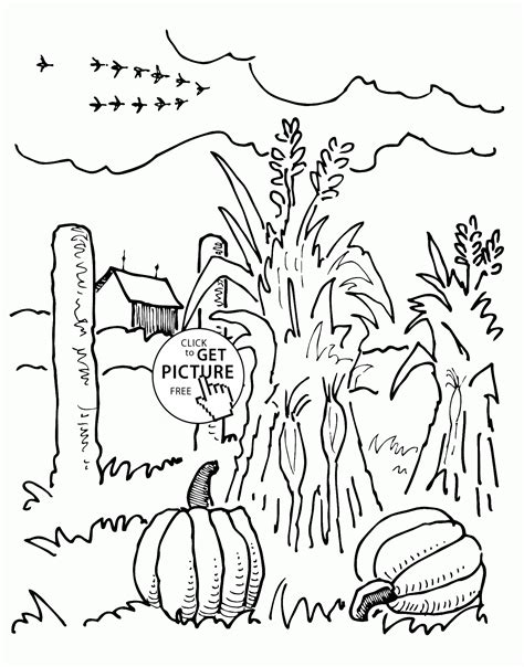 Autumn Farm Coloring Page   farm and autumn coloring pages for kids seasons