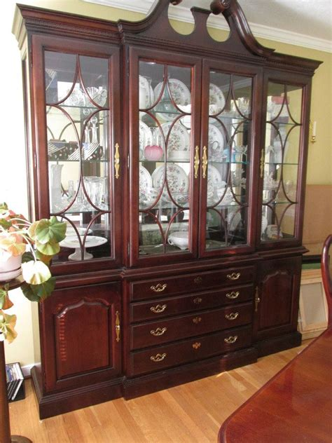 Henredon Dining Room Set by Thomasville Collectors Cherry Breakfront And Buffet My