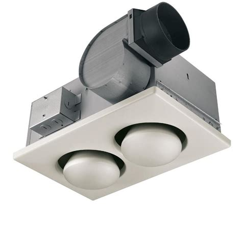 Bathroom Fan With Light And Heater Shop Broan 3 5 Sone 70 Cfm White Bathroom Fan With Integrated Heater And Light At Lowes